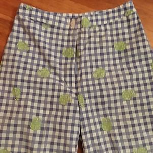 Lilly Pulitzer Clam Digger Blue White Check Crab